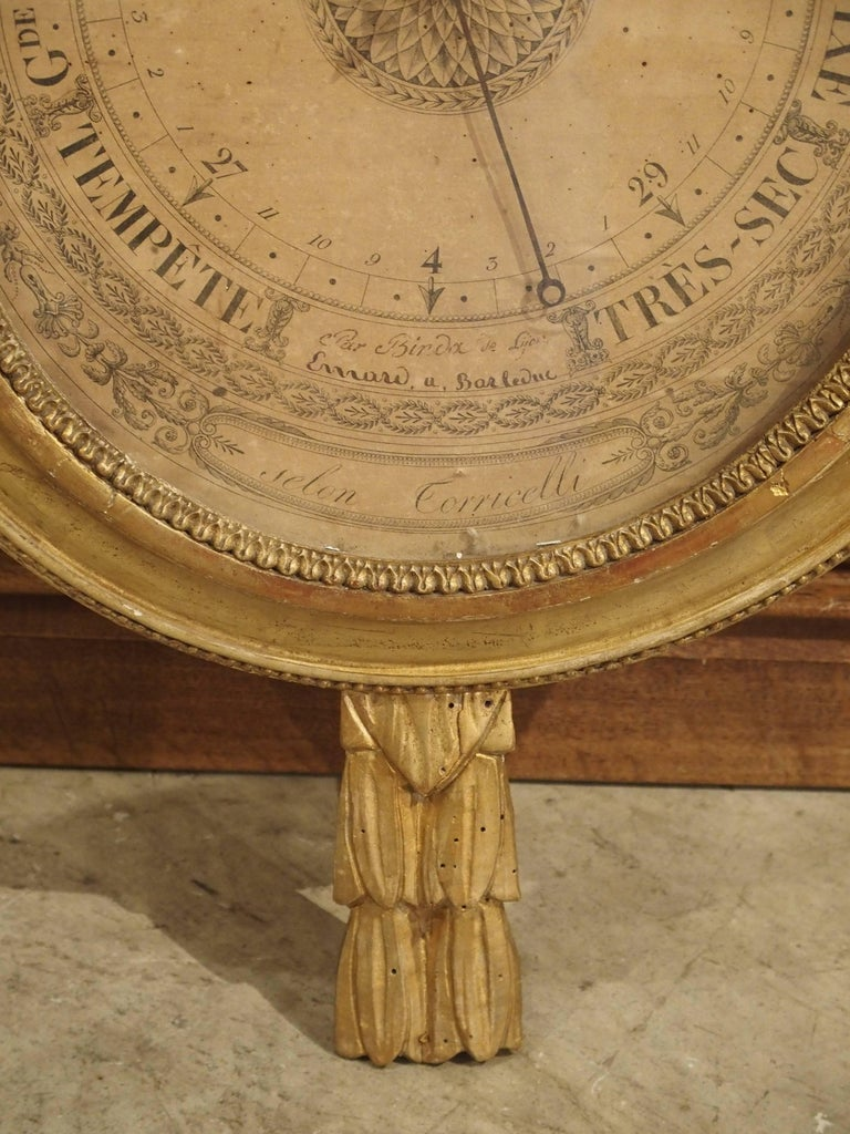 Glass Louis XVI Period Giltwood Barometer from France, 1774-1793 For Sale
