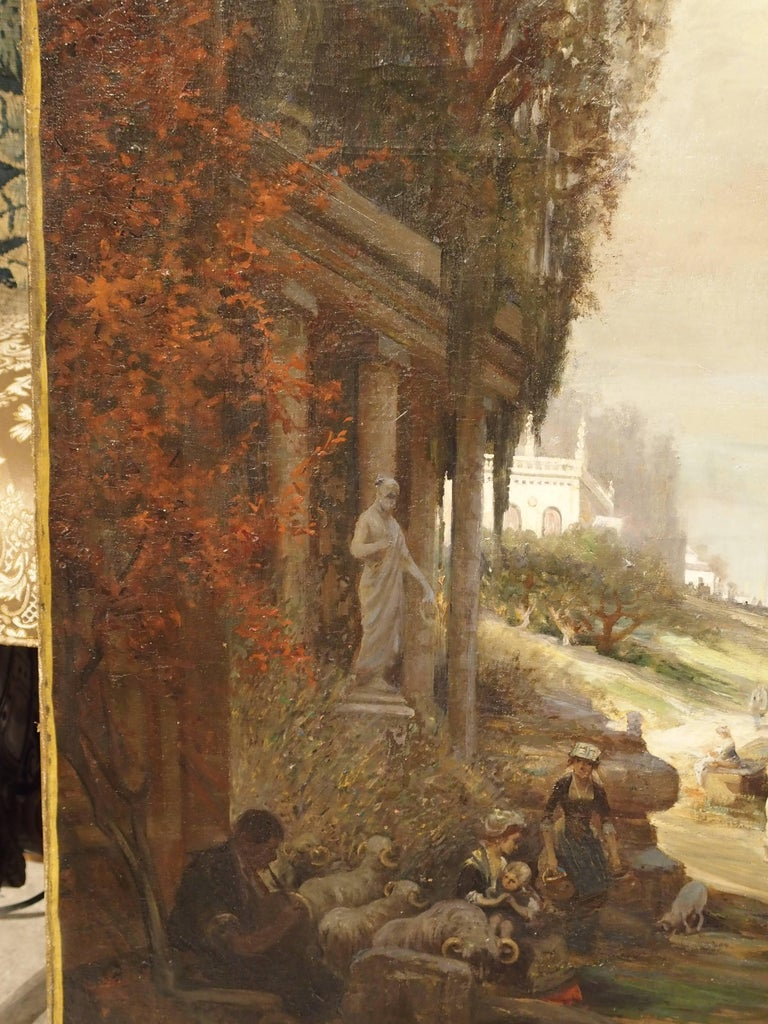 Antique French Oil Painting of 19th Century Life Amongst Roman Ruins In Good Condition For Sale In Dallas, TX