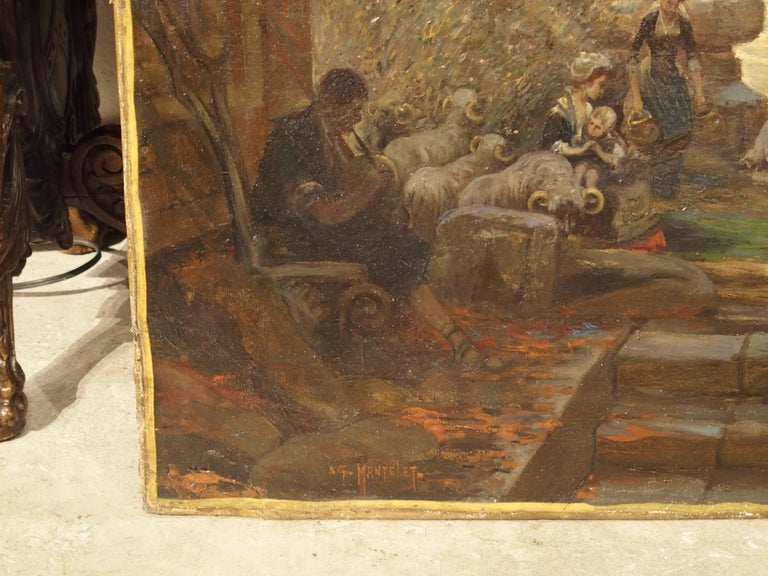 Canvas Antique French Oil Painting of 19th Century Life Amongst Roman Ruins For Sale
