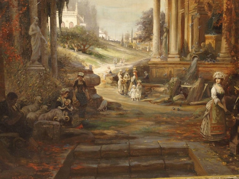 Antique French Oil Painting of 19th Century Life Amongst Roman Ruins For Sale 1