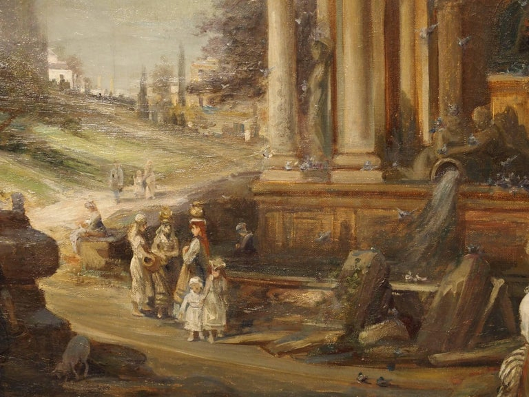 Antique French Oil Painting of 19th Century Life Amongst Roman Ruins 9