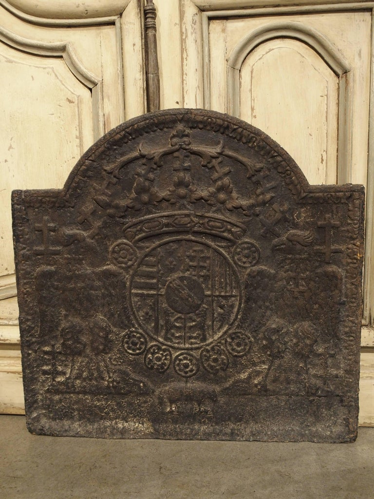 Early 1800s Heraldic Cast Iron Fireback From France For