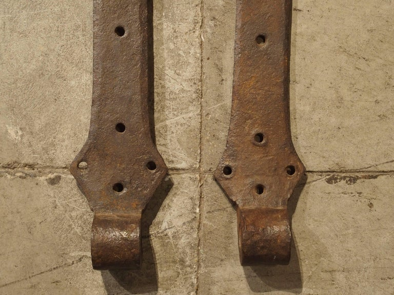 Pair of 15th Century Iron Door Straps from France For Sale 1
