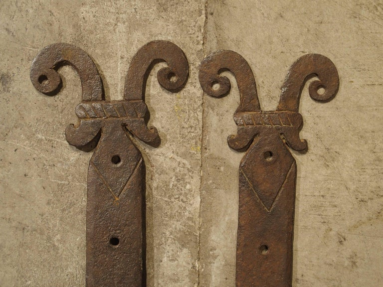 18th Century and Earlier Pair of 15th Century Iron Door Straps from France For Sale