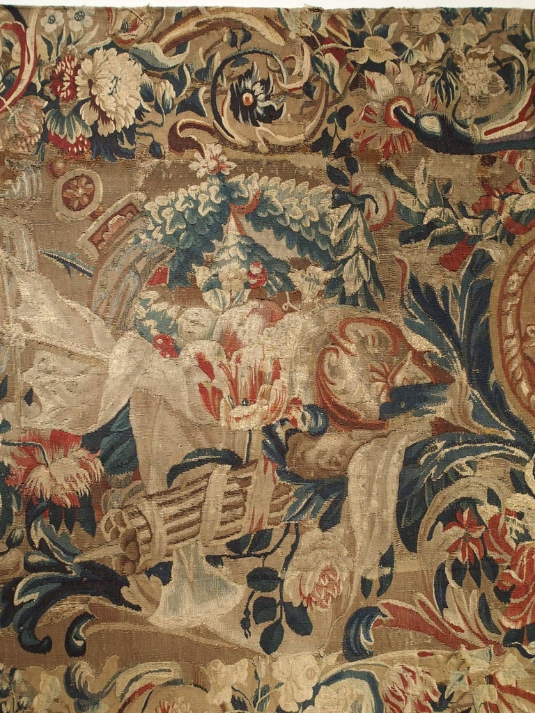 Hand-Woven Antique French Beauvais Tapestry from the Late 17th Century For Sale
