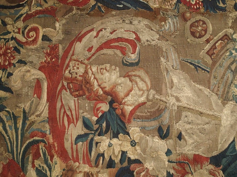Wool Antique French Beauvais Tapestry from the Late 17th Century For Sale