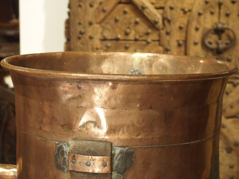 Antique Copper 50 Liter Wine Vessel From Carcassonne