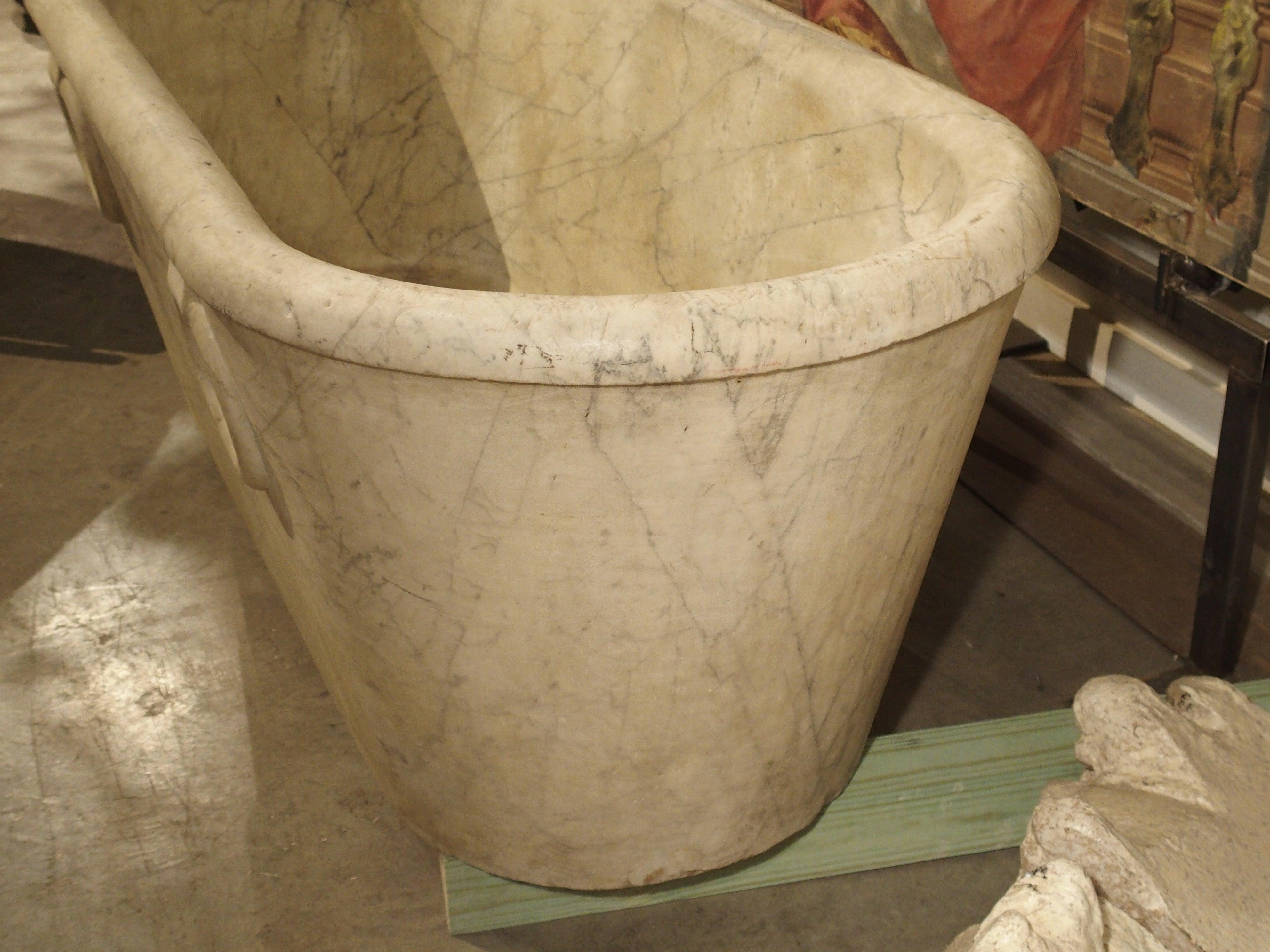 Antique Carrara Marble Bathtub from Italy, Early 1800s Genoa at 1stdibs