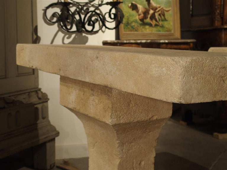 Pair of Carved Limestone Console Tables from the South of France For Sale 3