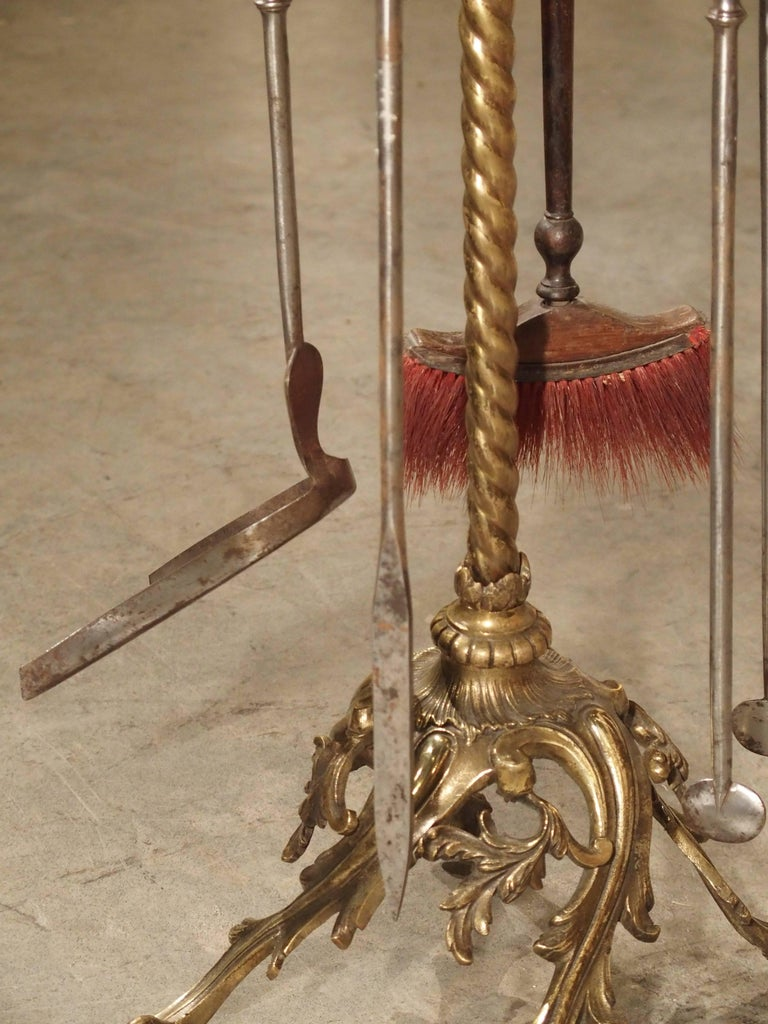 French Complete Set of 19th Century Fireplace Tools from France For Sale