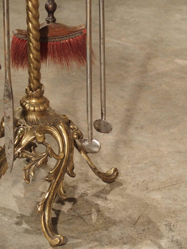 Louis XV Complete Set of 19th Century Fireplace Tools from France For Sale