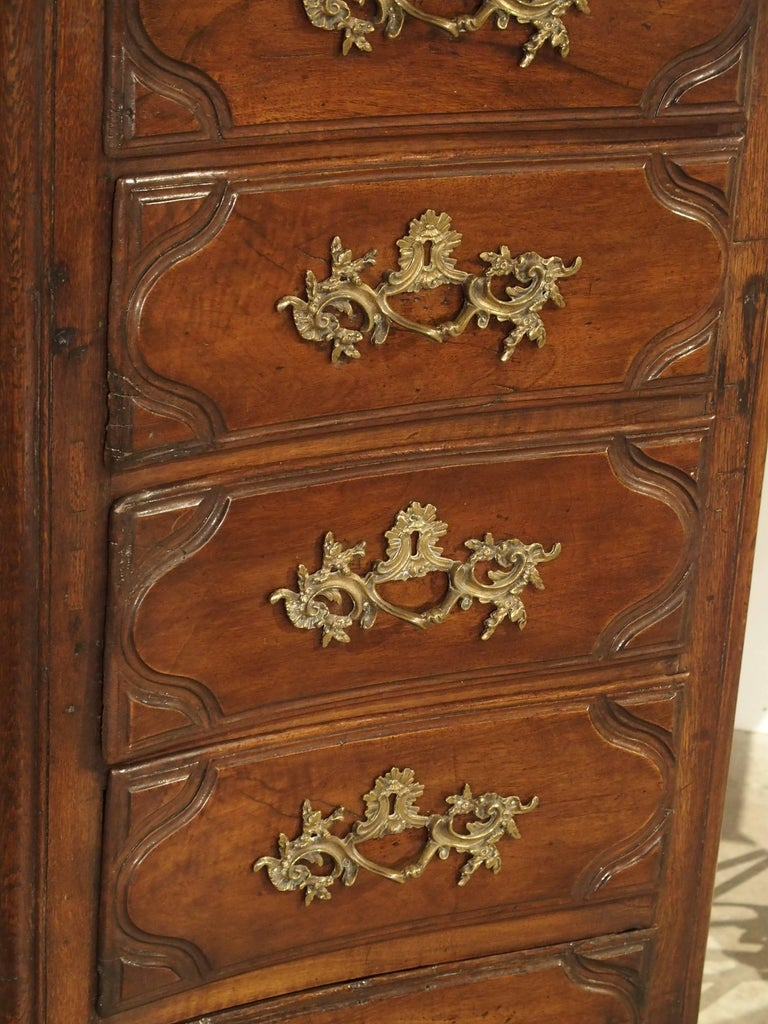 18th Century Walnut and Oak Chiffonier Chest of Drawers from France 4