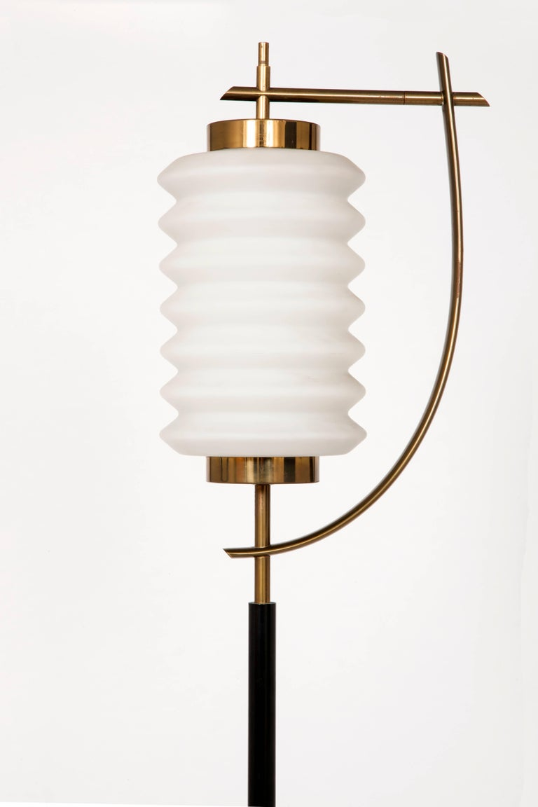 With a marble base, brass stem and opaque glass shade A stunning example of Japan-inspired midcentury Italian design.