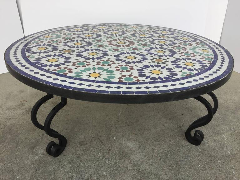Moorish Moroccan Mosaic Round Tile Coffee Table On Iron Base For