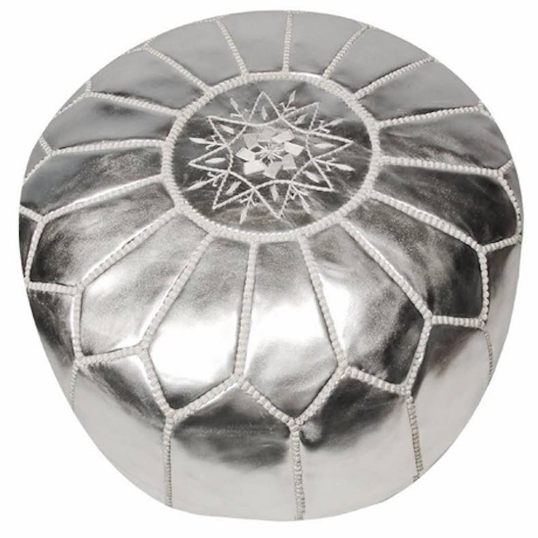 Moroccan Silver Hand Tooled Round Pouf Ottoman For Sale At