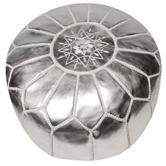 Moroccan Silver Hand Tooled Round Pouf Ottoman