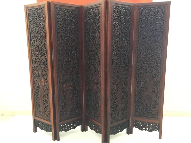 Thai Asian Hand-Carved Wood Five Panels Double-Sided Folding Screen Room Divider For Sale