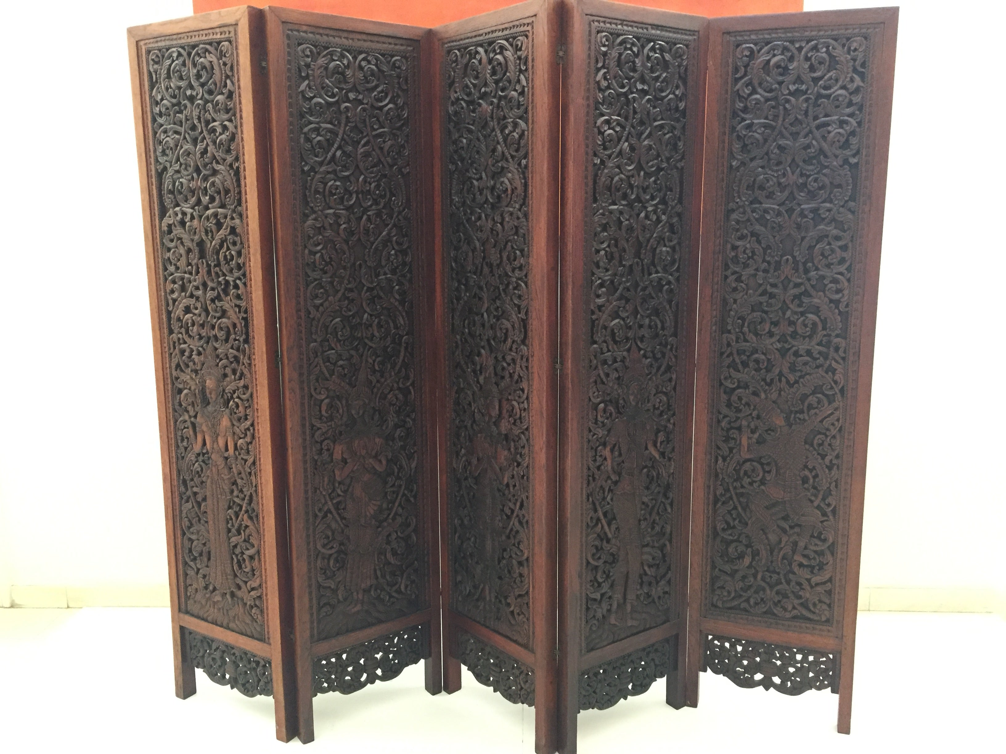 Asian Hand Carved Wood Five Panels Double Sided Folding Screen Room Divider At 1stdibs