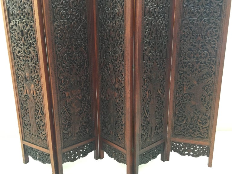 Asian Hand-Carved Wood Five Panels Double-Sided Folding Screen Room Divider For Sale 3