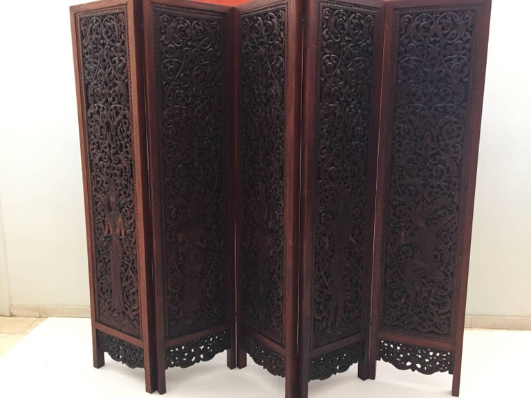 Asian Hand Carved Wood Five Panels Double Sided Folding Screen Room Divider For