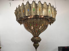 Moroccan Brass Chandelier in the style of Alberto Pinto oversized