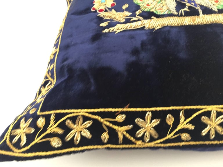 Indian Velvet Blue Silk Pillow Embroidered with Gold Peacock For Sale