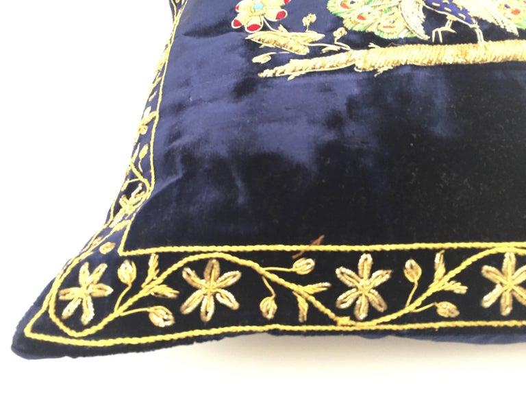 Anglo Raj Velvet Blue Silk Pillow Embroidered with Gold Peacock For Sale