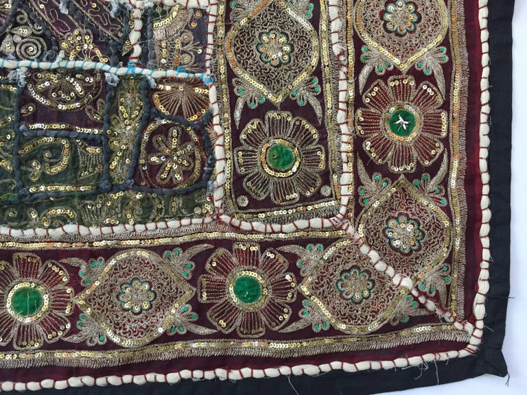 Vintage Handcrafted and Quilted Textile from India In Good Condition For Sale In North Hollywood, CA