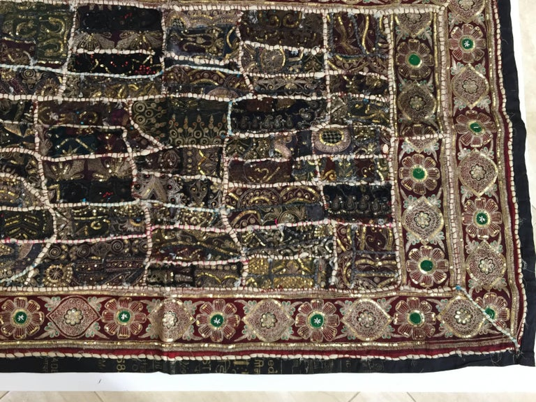 Silk Vintage Handcrafted and Quilted Textile from India For Sale