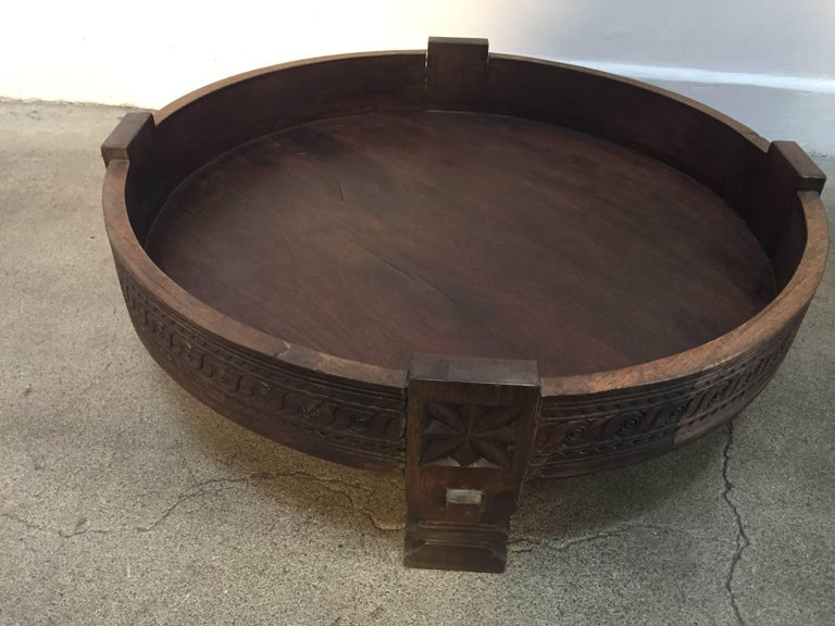 Large Round Tribal Low Grinder Table Made Into An Ottoman