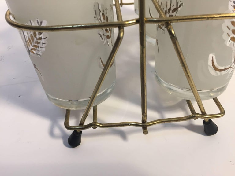 Italian Set of Six Vintage Drinking Glasses in Brass Cart by Covetro, Made in Italy For Sale