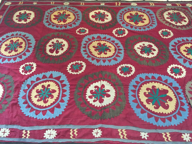 Large vintage Suzani Uzbek Samarkand textile, Suzani means needlework and these embroideries are some of the most characteristic forms of textile art from Central Asia.