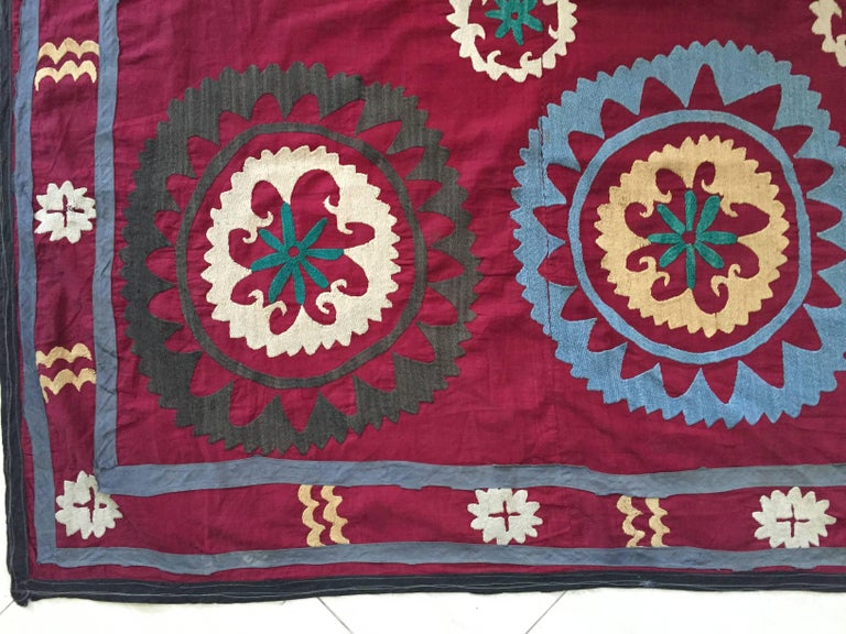 Folk Art Large Vintage Uzbek Suzani Needlework Textile Blanket or Tapestry For Sale