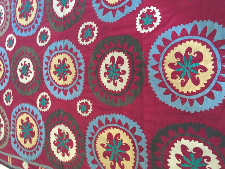 Embroidered Large Vintage Uzbek Suzani Needlework Textile Blanket or Tapestry For Sale