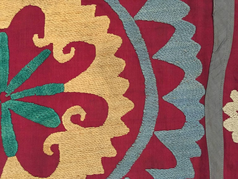 20th Century Large Vintage Uzbek Suzani Needlework Textile Blanket or Tapestry For Sale