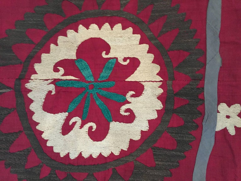 Large Vintage Uzbek Suzani Needlework Textile Blanket or Tapestry For Sale 1