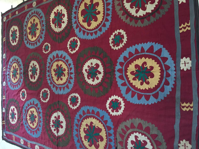 Large Vintage Uzbek Suzani Needlework Textile Blanket or Tapestry For Sale 3