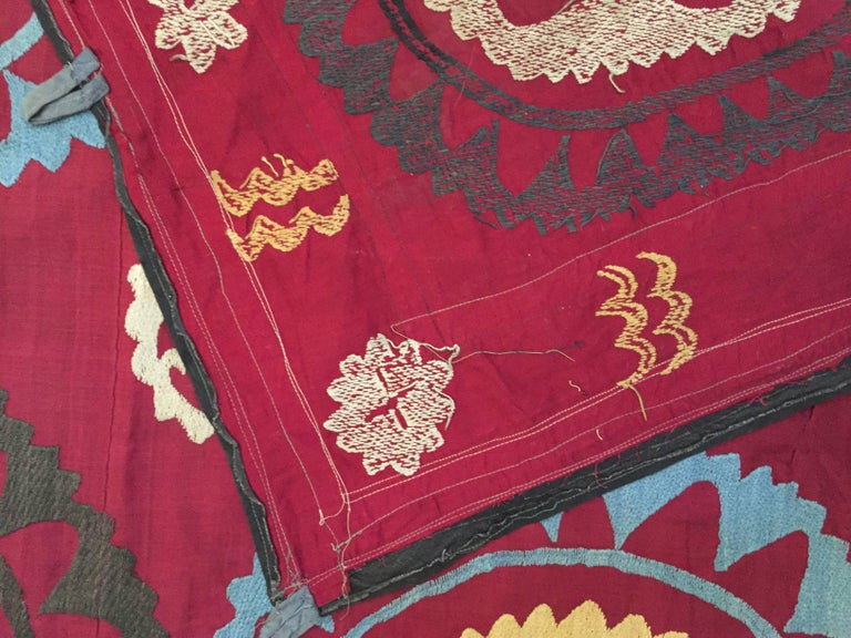 Large Vintage Uzbek Suzani Needlework Textile Blanket or Tapestry For Sale 4