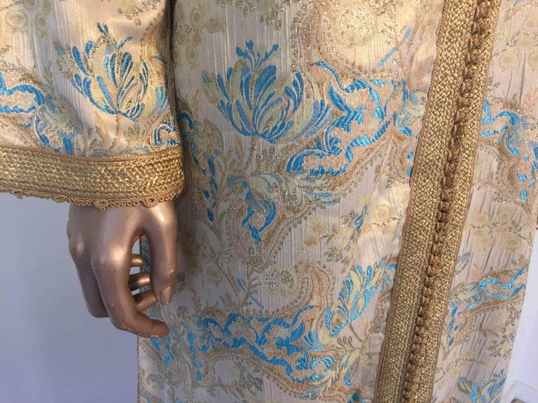 20th Century Moroccan Caftan, Turquoise and Gold Brocade Kaftan Size Medium For Sale