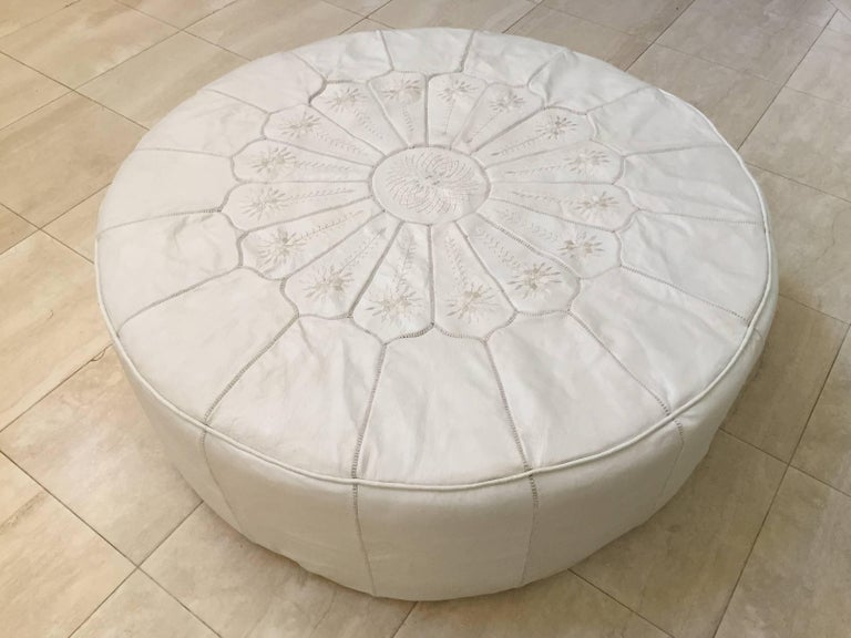 Outstanding Large Round White Leather Table Ottoman Gmtry Best Dining Table And Chair Ideas Images Gmtryco