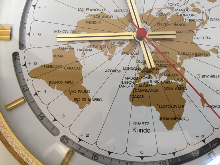 Bauhaus Modernist Desk World Clock Kundo by Kieninger & Obergfell West Germany 1960s For Sale