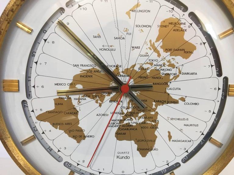 Modernist Desk World Clock Kundo by Kieninger & Obergfell West Germany 1960s For Sale 3