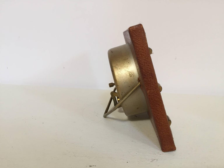 Leather and Brass Bauhaus French Endura Desk Clock Jacques Adnet Style For Sale 3