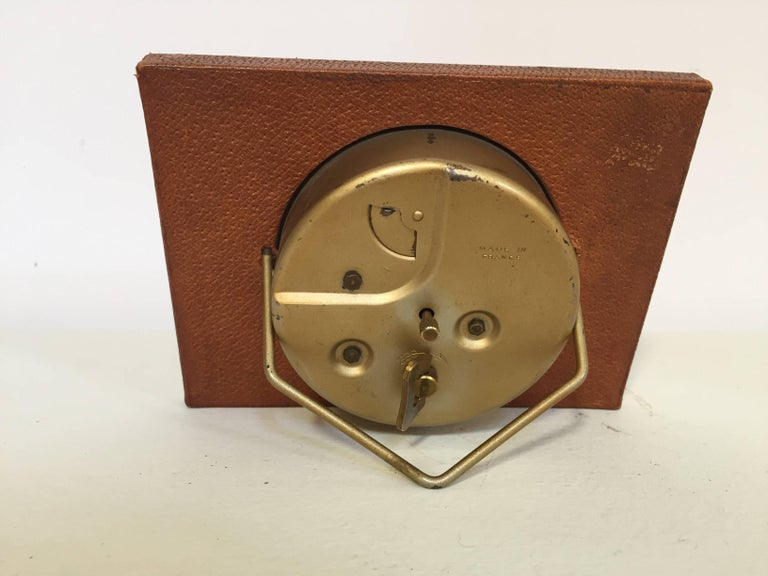 Leather and Brass Bauhaus French Endura Desk Clock Jacques Adnet Style For Sale 4