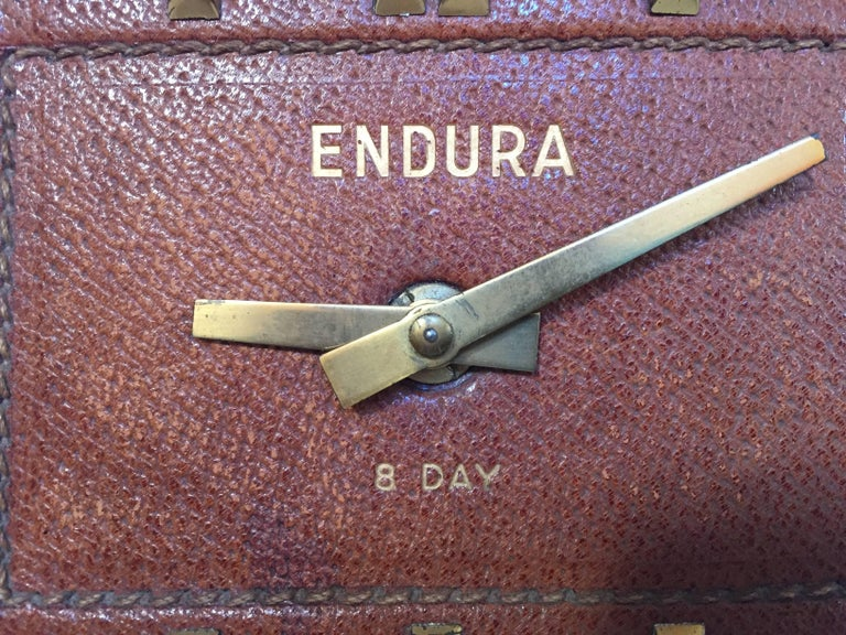 Leather and Brass Bauhaus French Endura Desk Clock Jacques Adnet Style For Sale 5