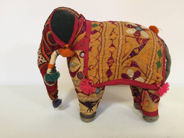 20th Century Hand-Crafted Anglo Raj Vintage Stuffed Cotton Embroidered Elephant, India 1950 For Sale