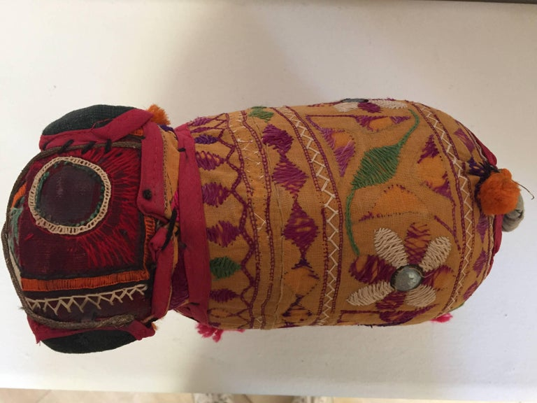 Fabric Hand-Crafted Anglo Raj Vintage Stuffed Cotton Embroidered Elephant, India 1950 For Sale