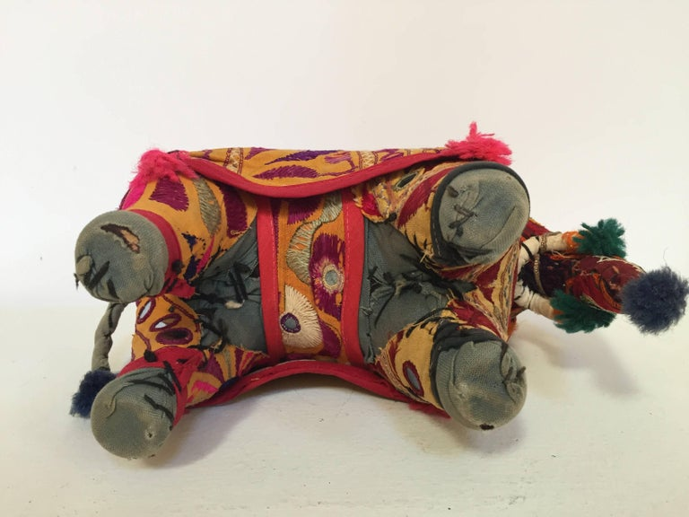 Hand-Crafted Anglo Raj Vintage Stuffed Cotton Embroidered Elephant, India 1950 For Sale 1