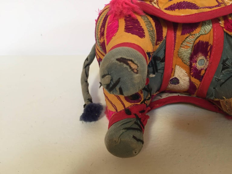 Hand-Crafted Anglo Raj Vintage Stuffed Cotton Embroidered Elephant, India 1950 For Sale 2