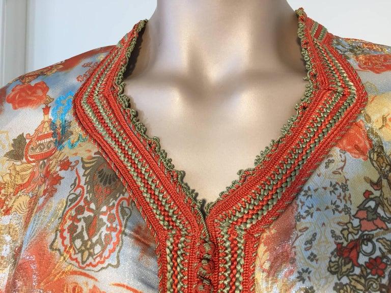 Moorish Moroccan Caftan Floral Brocade Multicolored Embroidered Kaftan 1970s For Sale